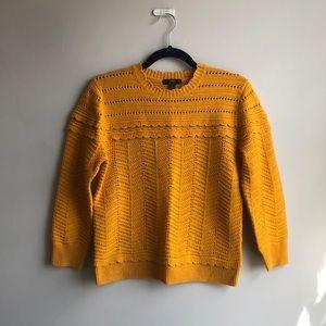 J. Crew Crewneck Pointelle Sweater in Ochre Yellow